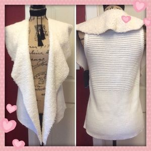 Nwt Sherpa front ivory waterfall cardigan